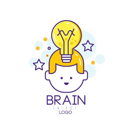 Design de logotipo de vetor linear com cabeça de criança, lâmpada de iluminação e estrelas. Educação de crianças. Conceito de pensamento e idéia criativa. Símbolo de energia cerebral. Geração de conhecimento. Desenvolvimento precoce das crianças. Logos