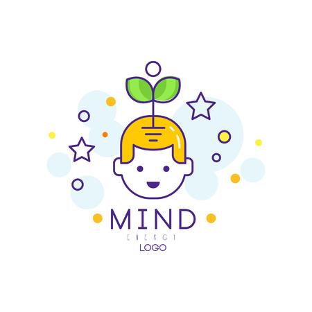 Logo design originale con germoglio che esce dalla testa del bambino. Energia mentale e concetto di crescita. Scuola genio. Educazione e sviluppo precoce dei bambini. Cervello creativo. Illustrazione vettoriale di contorno