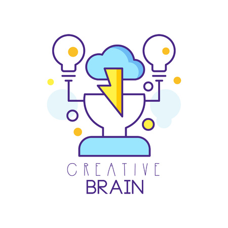 Colorful linear icon design with human head, cloud and light bulbs. Brainstorming process. Creative idea and thinking concept. Label for creative hub, development center. Isolated vector illustration. 向量圖像