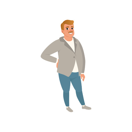 Fat adult man with mustache posing isolated on white background. Cartoon character of caucasian male in gray cardigan, t-shirt and blue jeans. Full-length portrait. Vector illustration in flat style.