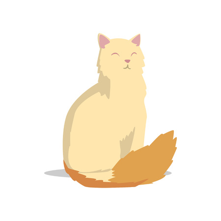 Long-haired turkish angora cat with pink ears and fluffy red tail vector illustration