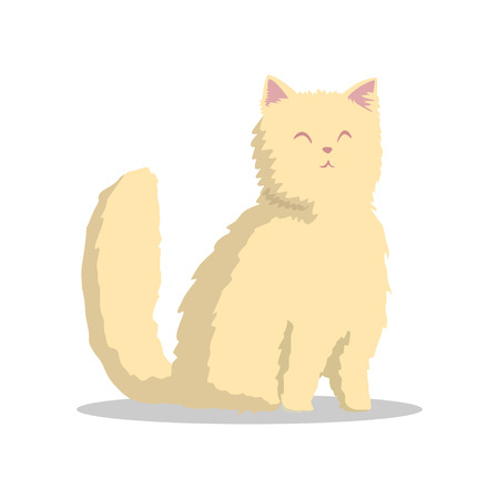 Hand drawn fluffy beige cat with pink ears and happy muzzle. Cute domestic animal character. Flat vector design for veterinary clinic or pet store.