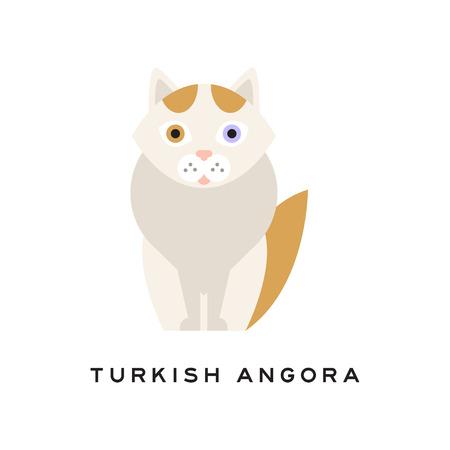 トルコのアンゴラ猫。漫画のペットキャラクター。白い毛皮、頭と尾に赤いマーキング、ピンクの鼻、青と1つの琥珀色の目を持つ家畜。動物園の店