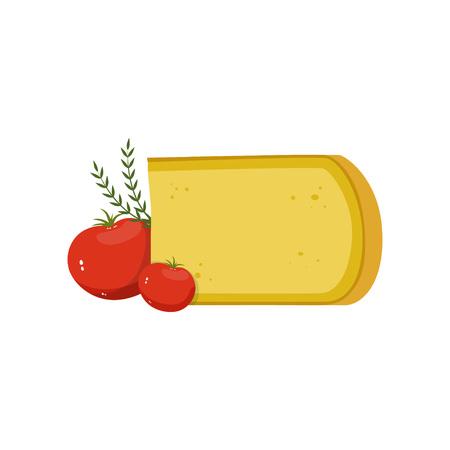 Goudse kaas, rode tomaten en groene gemberbladeren. Gourmet eten. Natuurlijk zuivelproductconcept. Platte ontwerp voor menu, boek of promoflyer van supermarkt. Vector illustratie geïsoleerd op wit. Stock Illustratie