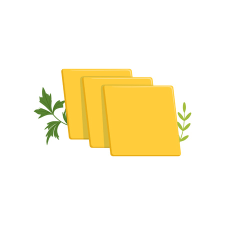 Sliced pieces of cheddar cheese with green ginger leaves. Dairy organic product. Healthy food concept. Vector illustration isolated on white background. Flat design for advertising poster or banner.