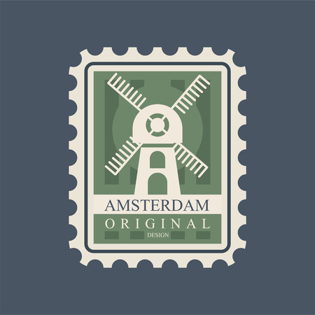 Rectangular postmark with windmill. Main symbol of Amsterdam city. Graphic icon in green color. European architecture attraction. Flat vector design