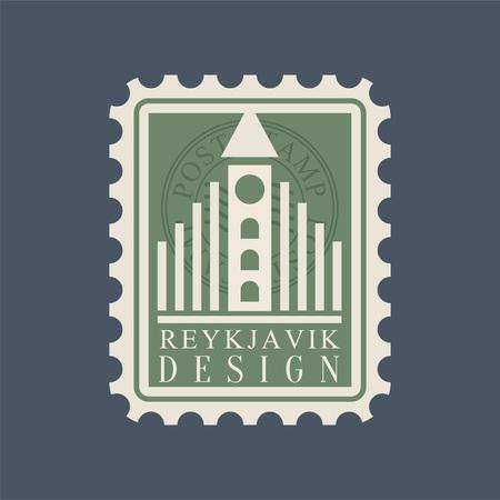 Postmark with famous landmark of Reykjavik - Hallgrimskirkja. Creative symbol of largest church in Iceland. Historical architecture. Travel concept. Flat vector design isolated on blue background.