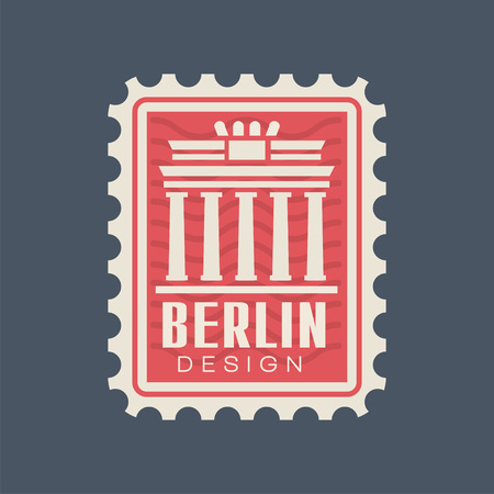 Postmark stamp of Germany with Brandenburg Gate silhouette. Famous architectural monument of Berlin. Travel concept. Icon in red color. Vector illustration in flat style isolated on blue background.