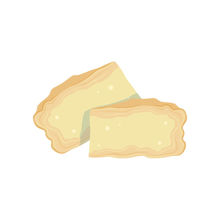 Two pieces of soft Brie cheese from cow s milk. Cooking or healthy food concept. Organic dairy product. Flat design for menu, book or promo flyer. Vector illustration isolated on white background.  イラスト・ベクター素材