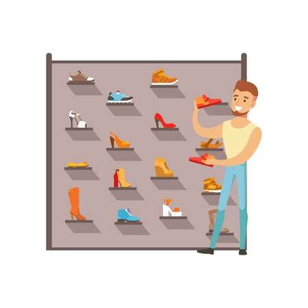 Man buying shoes in a shoe store. Male shopping in a mall. Colorful vector illustration. Isolated on a white background.