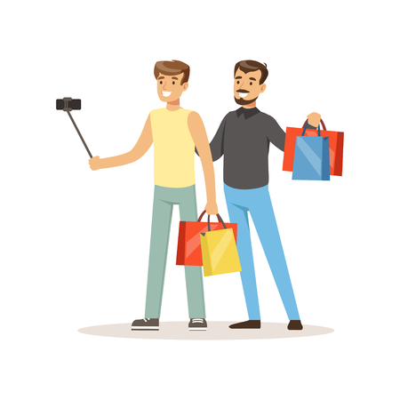 Man shopping in a mall and making selfie colorful vector illustration isolated on a white background.