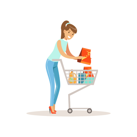 Smiling woman with shopping cart. Shopping in grocery store, supermarket or retail shop. Colorful character vector illustration. Isolated on a white background.