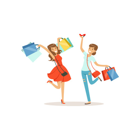 Young happy women having fun with shopping bags. Girl shopping in a mall. Colorful vector illustration. Isolated on a white background.