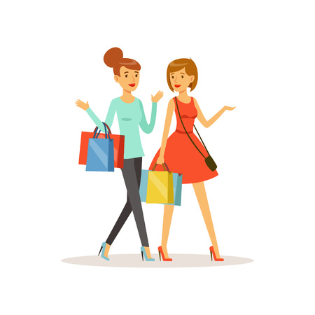 Young happy women walking with shopping bags. Girl shopping in a mall. Colorful vector illustration. Isolated on a white background.