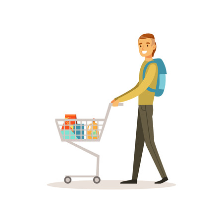 Smiling man pushing shopping cart. Male shopping in grocery store, supermarket or retail shop. Colorful character vector illustration. Isolated on a white background.