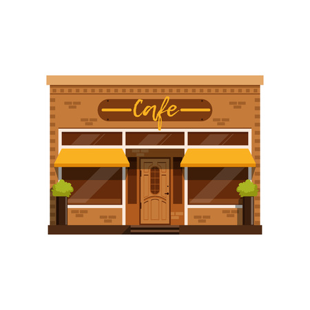 Cafe facade, restaurant building with showcase vector Illustration on a white background.