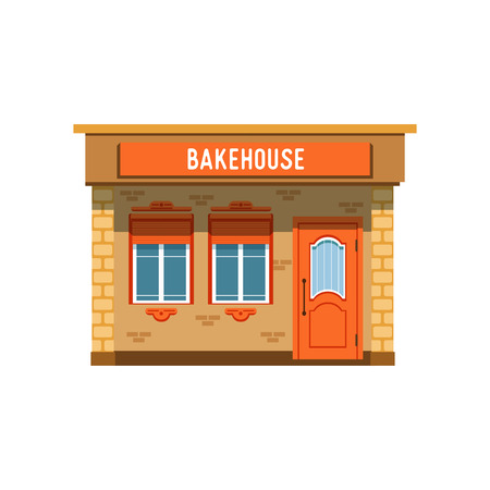 Bakehouse facade, bread shop building vector Illustration on a white background