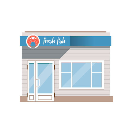 Fresh fish, seafood shop facade vector Illustration on a white background Ilustração