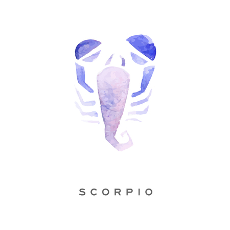 Scorpion zodiac sign, part of zodiacal system watercolor vector illustration isolated on a white background with lettering