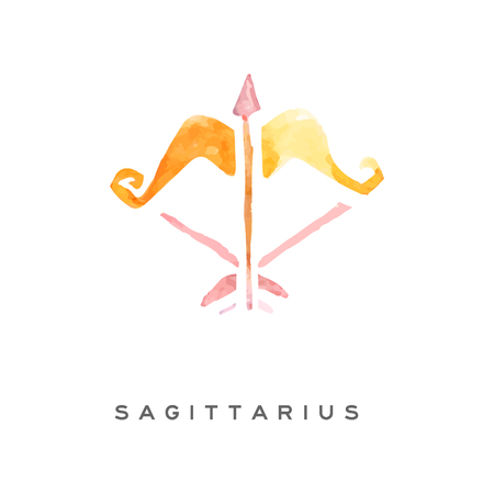 Sagittarius zodiac sign, part of zodiacal system watercolor vector illustration isolated on a white background with lettering Illusztráció