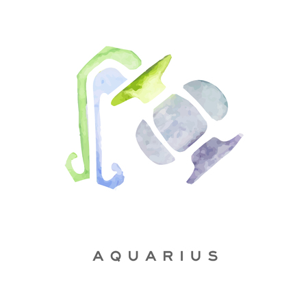 Aquarius zodiac sign, part of zodiacal system watercolor vector illustration isolated on a white background