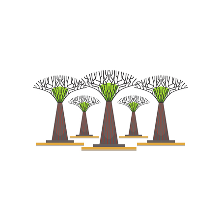 Supertrees in the Garden by the Bay, Singapore vector Illustration on a white background