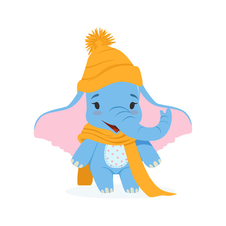 Cute baby elephant in an orange knitted hat and scarf, funny jungle animal character vector Illustration