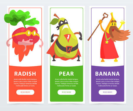Radish, pear, banana banners set, funny fruits and vegetables characters cartoon vector elements for website or mobile app