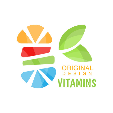 Vitamins logo original design, herbal supplement, natural medicine colorful vector Illustration isolated on a white background 일러스트