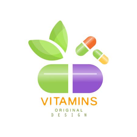 Vitaminen logo sjabloon, kruidensupplement, natuurlijke geneeskunde vector illustratie geïsoleerd op een witte achtergrond