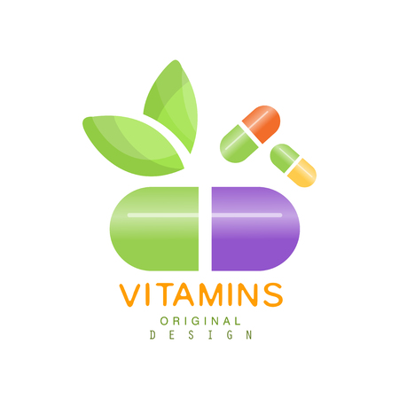 Vitamins logo template, herbal supplement, natural medicine vector Illustration isolated on a white background Stok Fotoğraf - 92726989