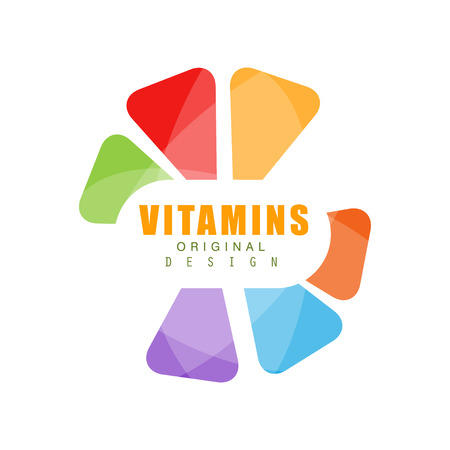 Vitamins logo template original design, abstract pharmacy label, healthy food vector Illustration isolated on a white background