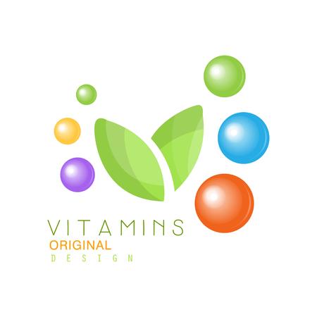 Vitamins logo original design, pharmacy label, natural medicine vector Illustration