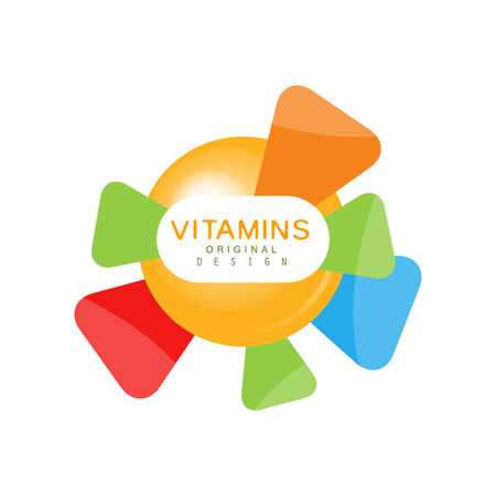 Vitamins logo template original design, pharmacy label, healthy food colorful vector Illustration isolated on a white background