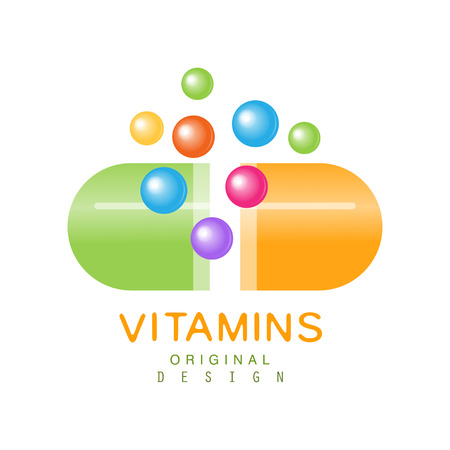 Vitamins logo template original design, pharmacy label, health care colorful vector Illustration isolated on a white background Stock Illustratie