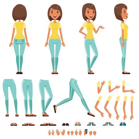 Conjunto de creación de personaje de mujer joven, niña con varias vistas, peinados, poses y gestos de vectores de dibujos animados Ilustraciones aisladas sobre fondo blanco