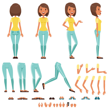 Young woman character creation set, girl with various views, hairstyles, poses and gestures cartoon vector Illustrations isolated on a white background