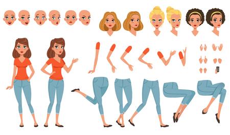 Conjunto de creación de personaje de mujer joven, niña con varias vistas, caras, peinados, poses y gestos de vectores de dibujos animados Ilustración de vector