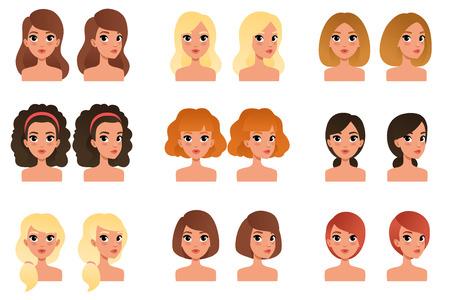 Sammlung von schönen jungen Mädchen mit verschiedenen Frisuren und Farben Schatten lang, kurz, mittel, lockig, blond, rot, schwarz, brünett. Flache Vektoravatare für Handyspiel Vektorgrafik
