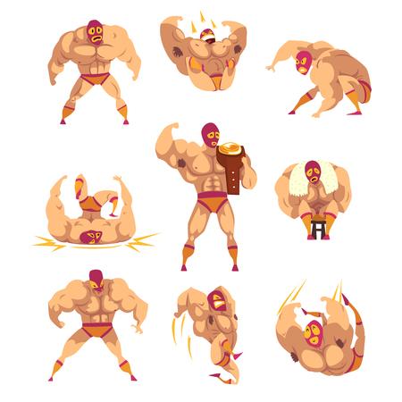 Set van professionele gespierde worstelaar in verschillende acties. Gemengde krijgskunstenaar. Vechtsport. Sterk mankarakter in masker en sportshort. Platte vector ontwerp