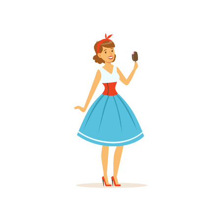 Beautiful young woman eating a sweet ice cream, girl dressed in retro style vector Illustration on a white background Vettoriali