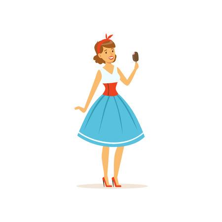 Hermosa joven comiendo un helado dulce, niña vestida de vector de estilo retro Ilustración sobre un fondo blanco Ilustración de vector
