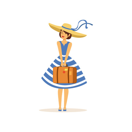 Beautiful young woman in a blue dress and straw hat standing with suitcase, girl dressed in retro style vector Illustration Ilustração
