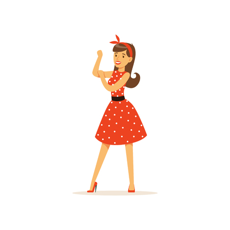 Beautiful young woman in a red polka dot dress, girl dressed in retro style vector Illustration on a white background