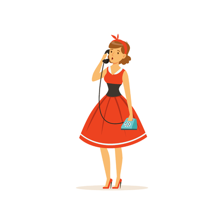 Beautiful young woman talking on vintage phone, girl dressed in retro style vector Illustration on a white background