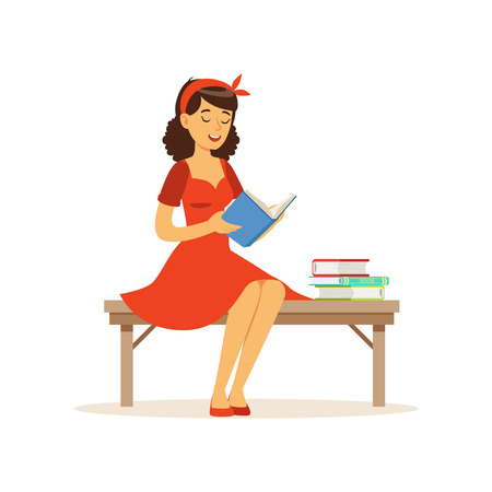 Beautiful young woman in red dress sitting on a bench and reading a book, girl dressed in retro style vector Illustration on a white background Çizim