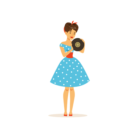 Beautiful young woman in a blue polka dot dress holding vinyl record, girl dressed in retro style vector Illustration on a white background 向量圖像