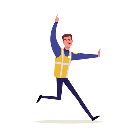 Officer of traffic police in uniform with high visibility vest running and whistling, policeman character at work vector Illustration Illustration