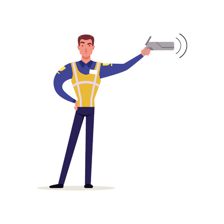 Officer of traffic police in uniform with high visibility vest pointing his radar gun at speeding traffic, policeman character at work vector Illustration on a white background Ilustração