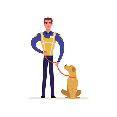Officer of traffic police in uniform with high visibility vest standing with service dog, policeman character at work vector illustration on a white background